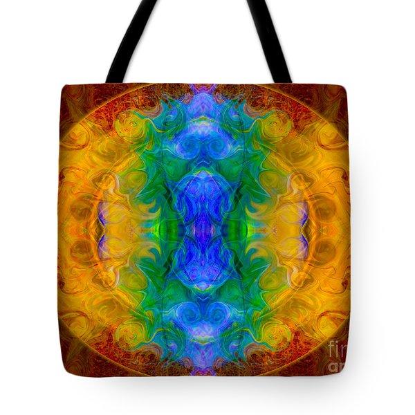 A Rainbow Of Chaos Abstract Mandala Artwork By Omaste Witkowski Tote Bag by Omaste Witkowski