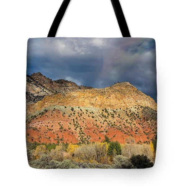 Rainbow Touching The Mountain Tote Bag