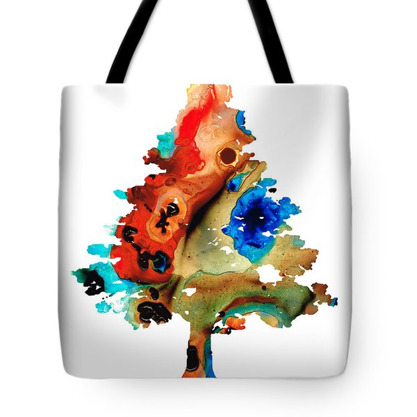 Rainbow Tree 2 - Colorful Abstract Tree Landscape Art Tote Bag by Sharon Cummings