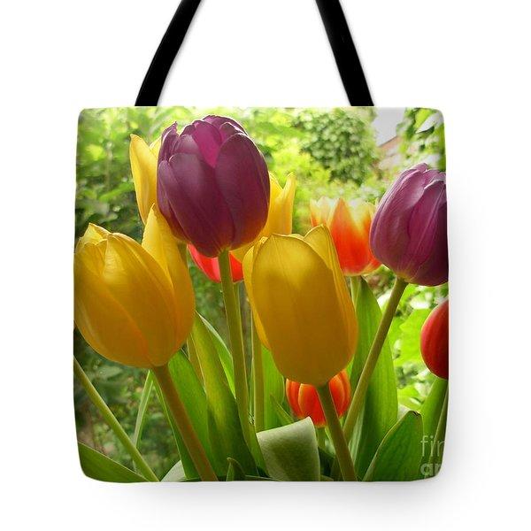 Rainbow Tulips  Tote Bag