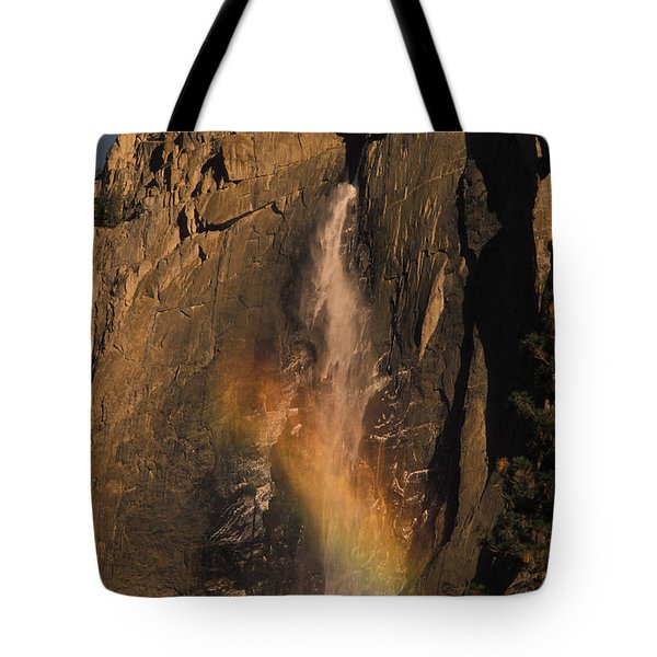 Rainbow, Upper Yosemite Falls Tote Bag by Ron Sanford