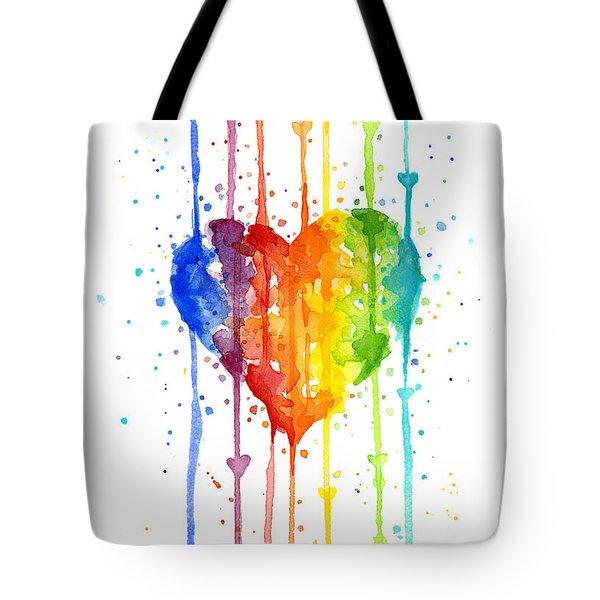 Rainbow Watercolor Heart Tote Bag