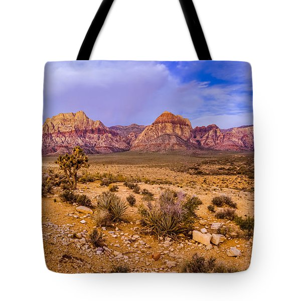Rainbow Wilderness Panorama At Red Rock Canyon Before Sunrise - Las Vegas Nevada Tote Bag