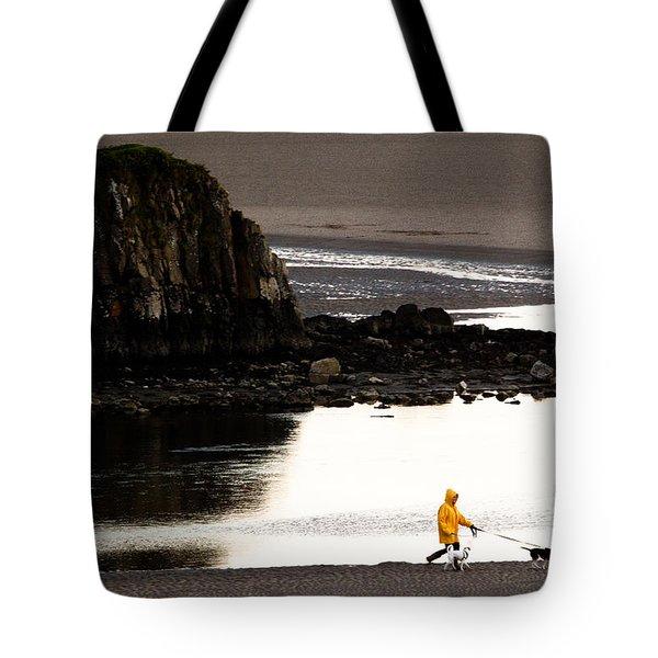 Raincoat Dog Walk Tote Bag by John Daly
