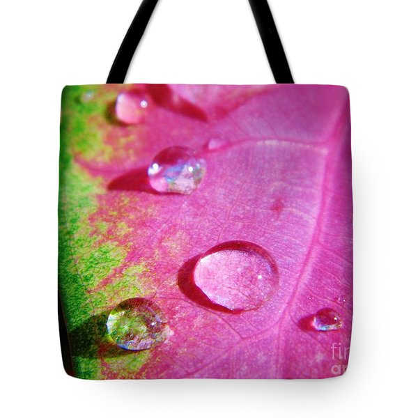 Raindrop On The Leaf Tote Bag