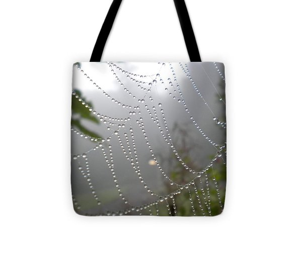Raindrop Pearls In Fog Tote Bag by Diannah Lynch