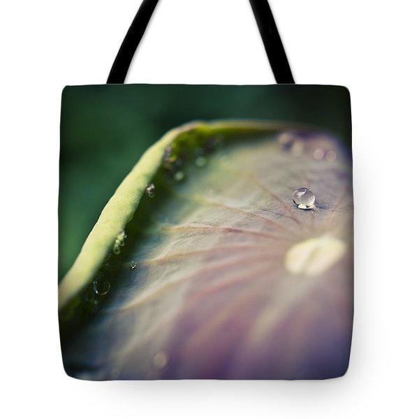 Raindrops On A Lotus Leaf Tote Bag by Priya Ghose