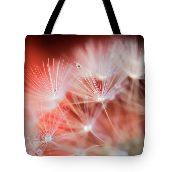 Raindrops On Dandelion Red Tote Bag