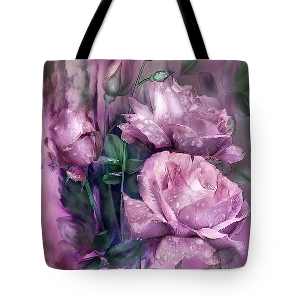 Tote Bag featuring the mixed media Raindrops On Pink Roses by Carol Cavalaris