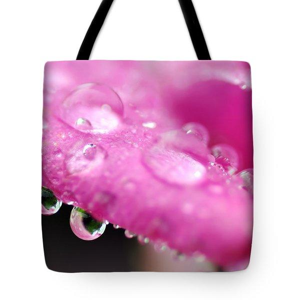 Raindrops On Roses Tote Bag by Kaye Menner