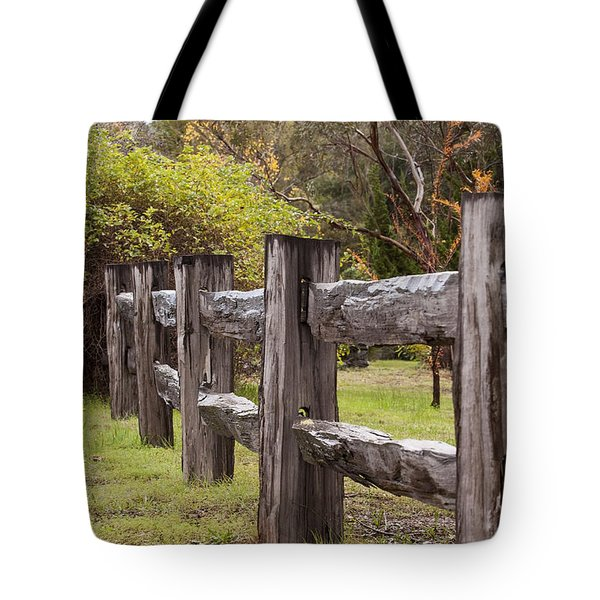 Raindrops On Rustic Wood Fence Tote Bag by Michelle Wrighton