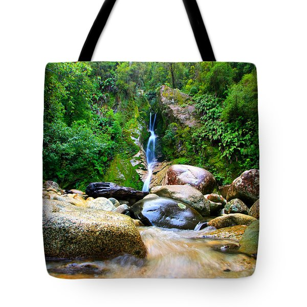 Tote Bag featuring the photograph Rainforest Stream New Zealand by Amanda Stadther