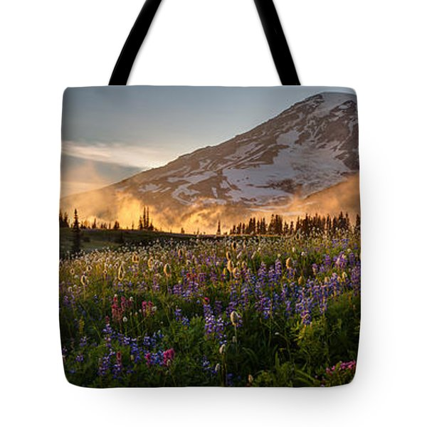 Rainier Golden Light Sunset Meadows Tote Bag by Mike Reid