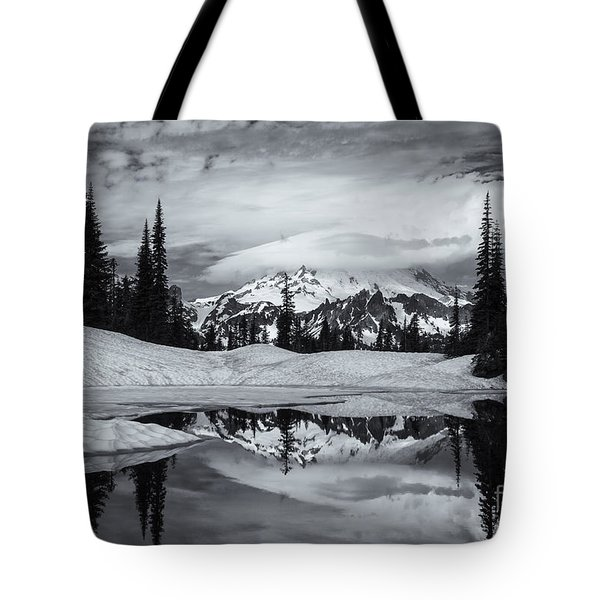 Rainier Reflections Tote Bag by Mike  Dawson
