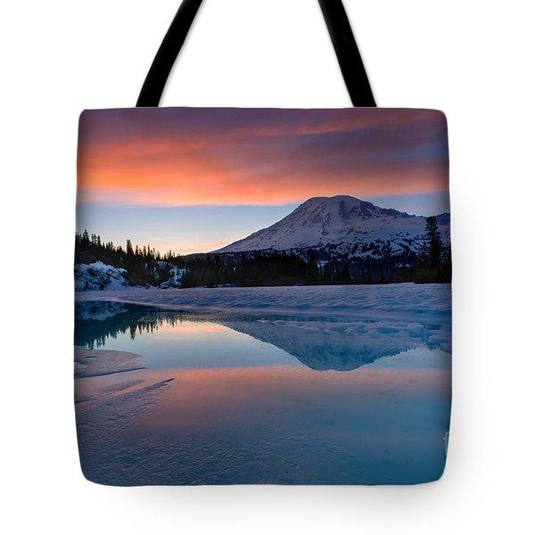 Rainier Snowbound Lake Sunset Skies Tote Bag