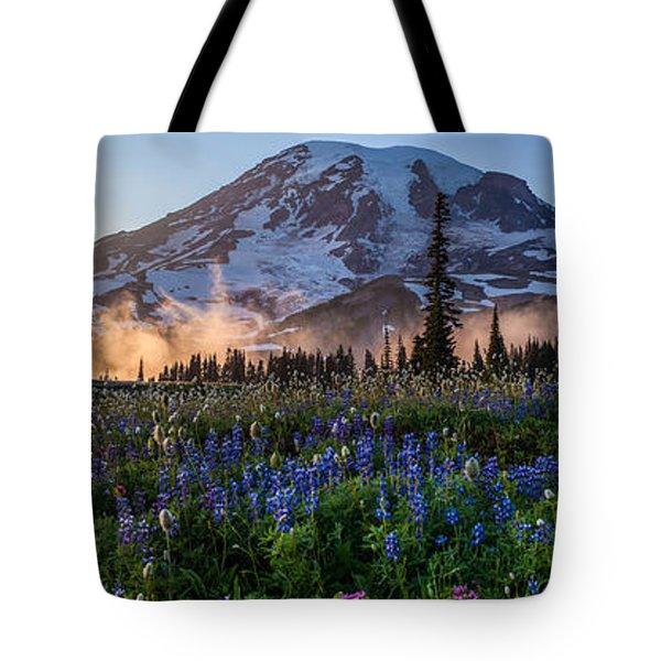 Rainier Wildflower Meadows Pano Tote Bag
