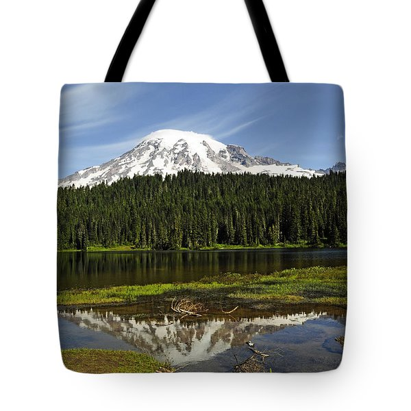 Tote Bag featuring the photograph Rainier's Reflection by Tikvah's Hope