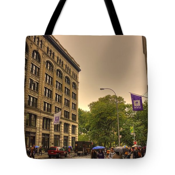 Raining At Nyu Tote Bag by David Bearden