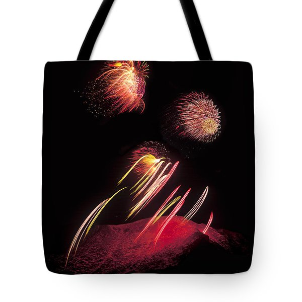 Raining Fire At Midnight Above 14000 Feet Tote Bag