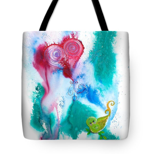 Raining Hearts Birdy Tote Bag