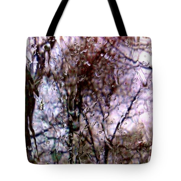 Tote Bag featuring the photograph Rainscape - Rain On The Window Series 1 Abstract Photo by Marianne Dow