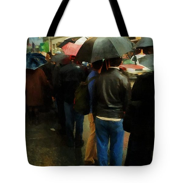 Rainy Afternoon On Broadway Tote Bag