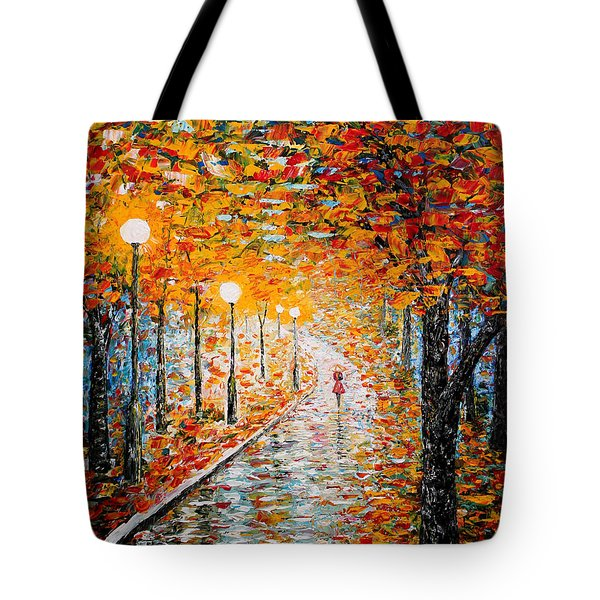 Tote Bag featuring the painting Rainy Autumn Day Palette Knife Original by Georgeta  Blanaru