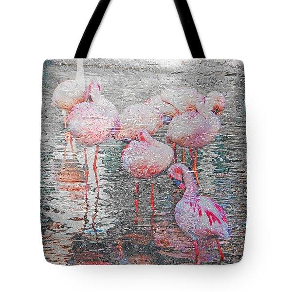 Rainy Day Flamingos Tote Bag