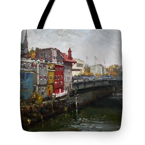 Rainy Day In Lockport Tote Bag