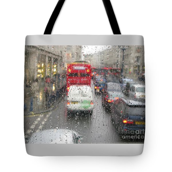 Tote Bag featuring the photograph Rainy Day London Traffic by Ann Horn