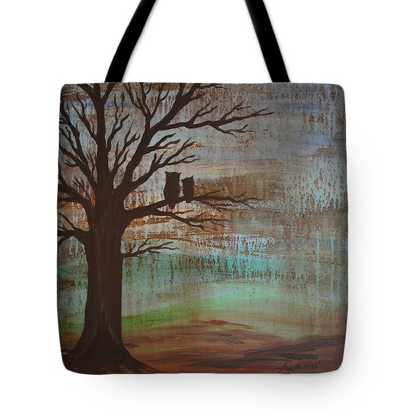 Tote Bag featuring the painting Rainy Day Owls by Agata Lindquist