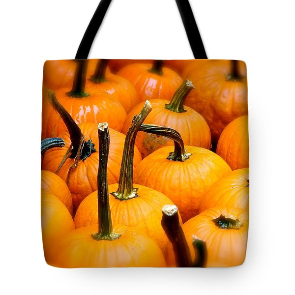 Tote Bag featuring the photograph Rainy Day Pumpkins by Ira Shander