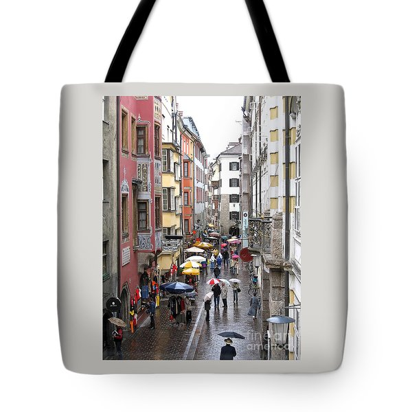 Tote Bag featuring the photograph Rainy Day Shopping by Ann Horn