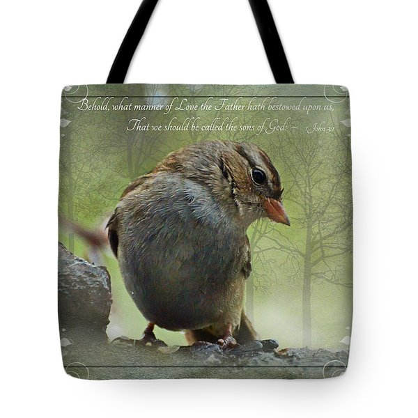 Rainy Day Sparrow With Verse Tote Bag