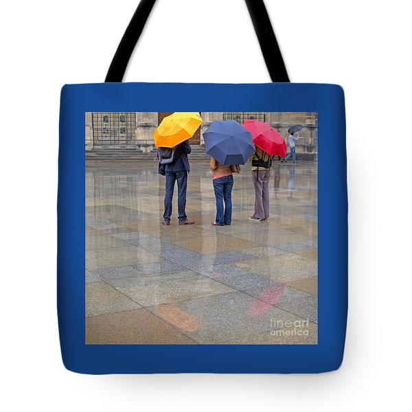 Rainy Day Tourists Tote Bag by Ann Horn