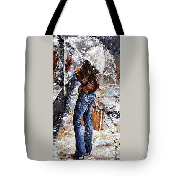 Rainy Day - Woman Of New York 15 Tote Bag by Emerico Imre Toth