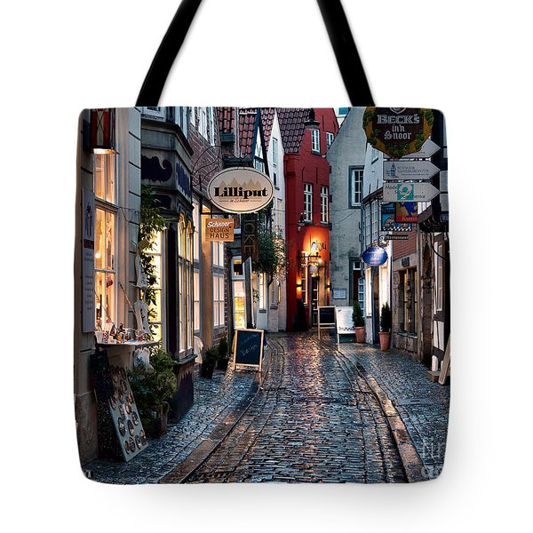 Rainy Evening In Old Town Tote Bag