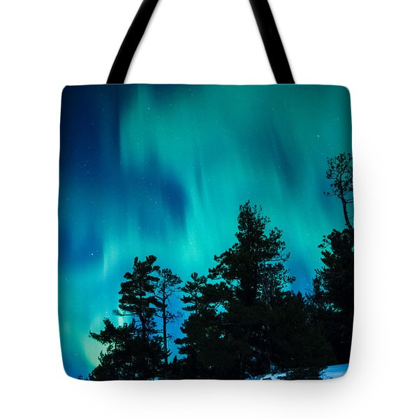 Rainy Lake Lights Tote Bag
