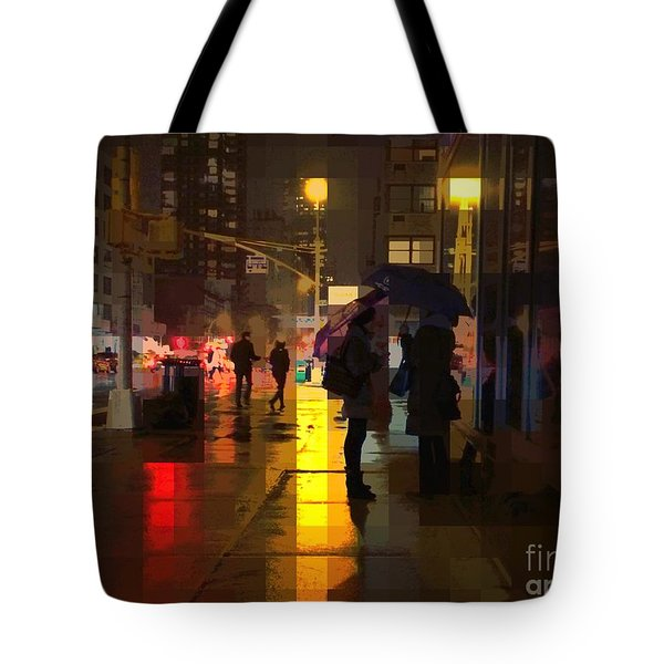 Rainy Night New York Tote Bag by Miriam Danar