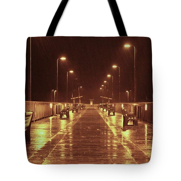 Rainy Night On The Pier Tote Bag