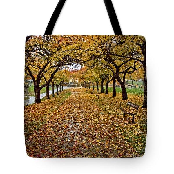 Rainy Path Tote Bag by Maria Janicki