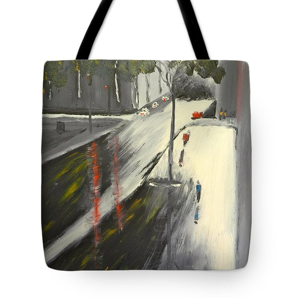 Tote Bag featuring the painting Rainy Street In Melbourne by Pamela  Meredith
