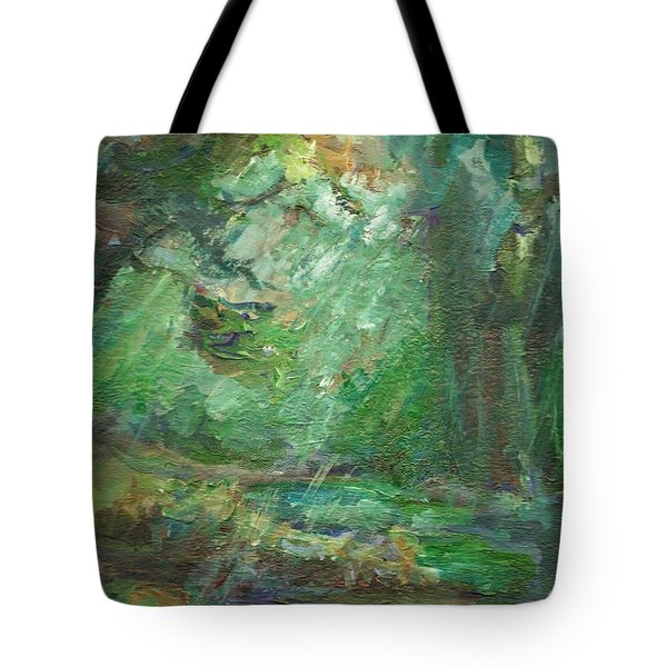 Tote Bag featuring the painting Rainy Woods by Mary Wolf