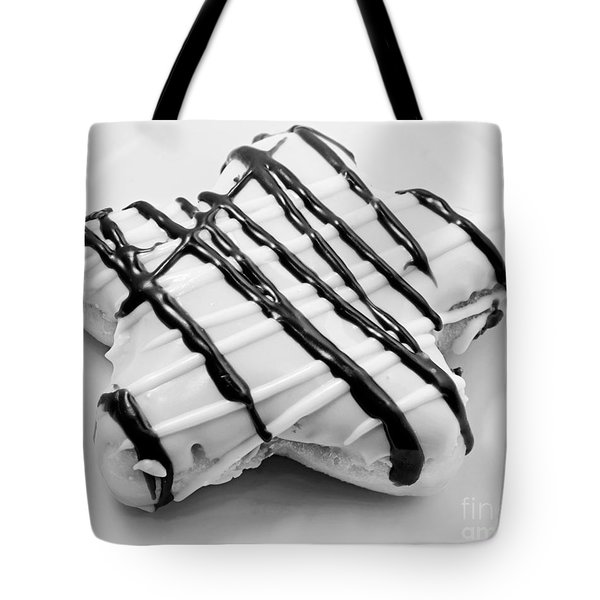 Raised Iced Star Shaped Donut - Chocolate Drizzles - Baker- Bakery - Bw  Tote Bag by Andee Design