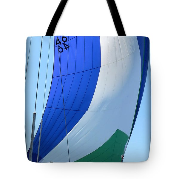 Raising The Blue And Green Sail Tote Bag