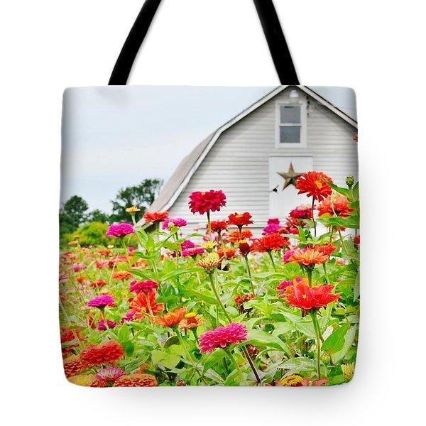 Raising Zinnia Flowers - Delaware Tote Bag