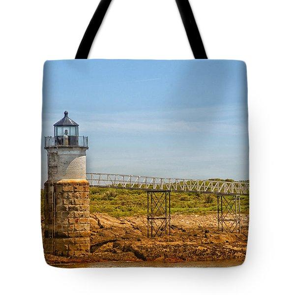 Ram Island Lighthouse Tote Bag by Karol Livote