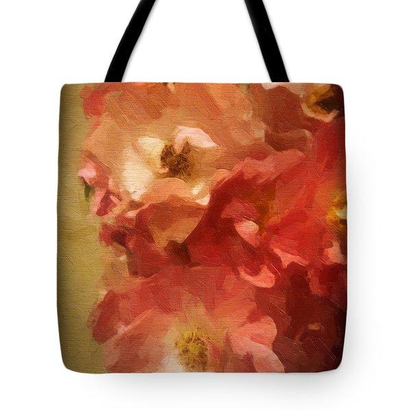 Tote Bag featuring the digital art Ramblin Rose Memories by Lianne Schneider