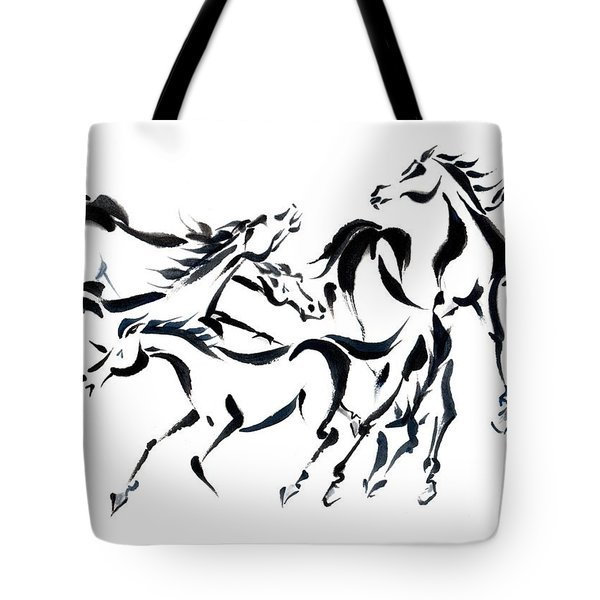 Tote Bag featuring the painting Rambunctious by Bill Searle