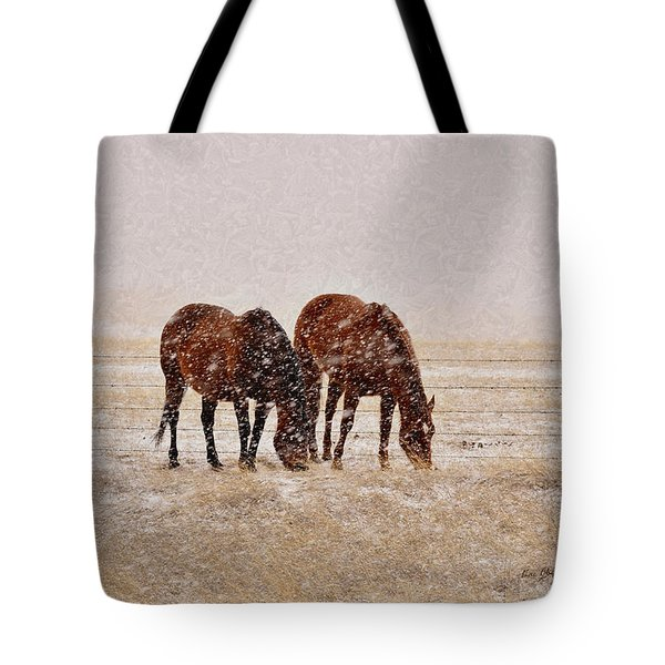 Ranch Horses In Snow Tote Bag by Kae Cheatham